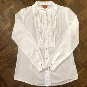Tory Burch White Mandarin Button Up Shirt